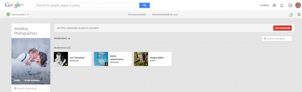 Google Plus Wedding Photog Moderators