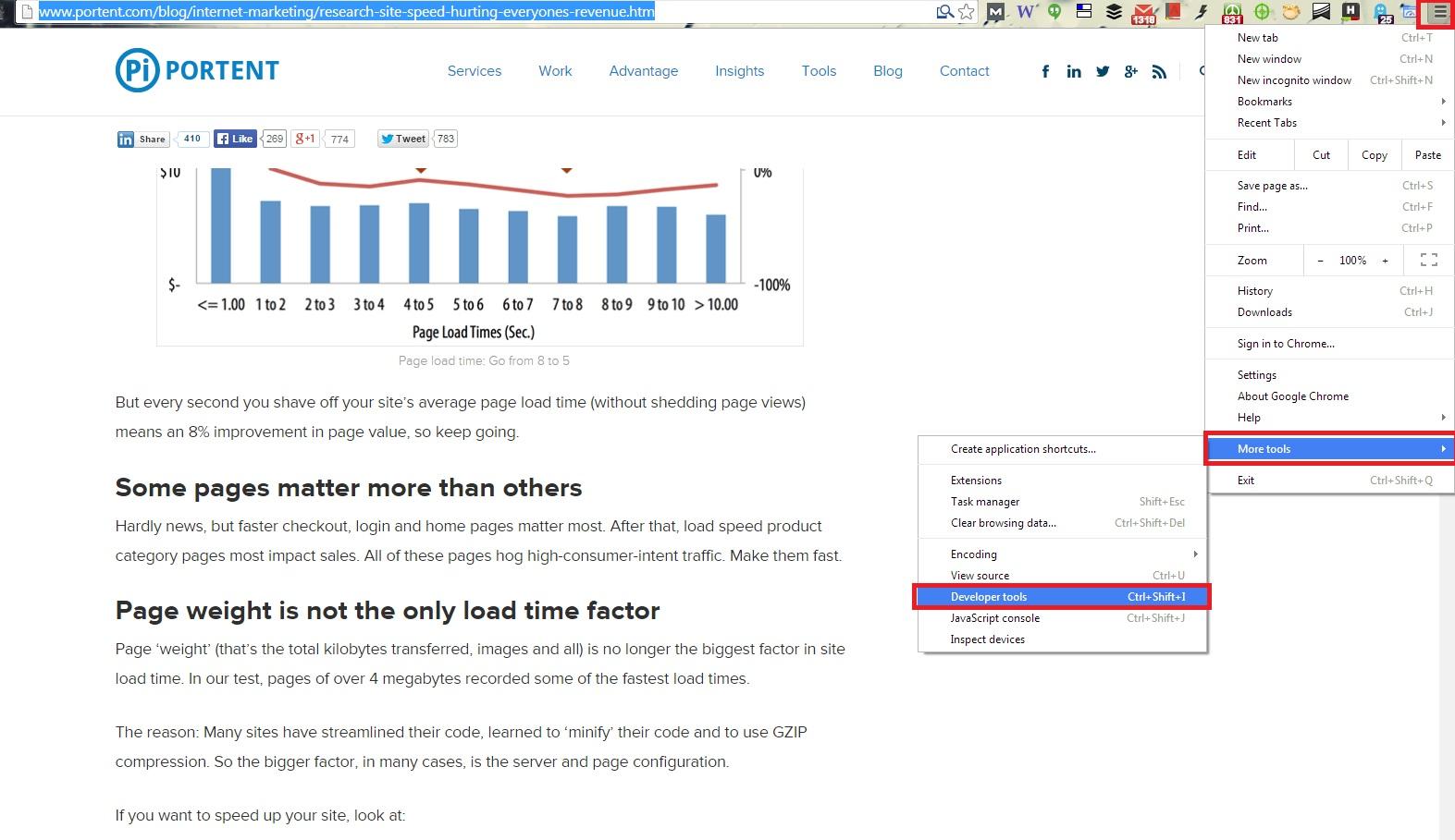 Chrome options developer tools