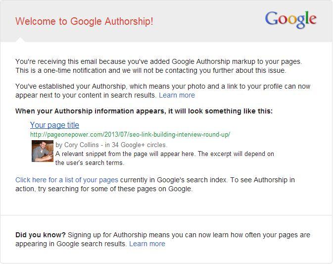 Google Authorship Email