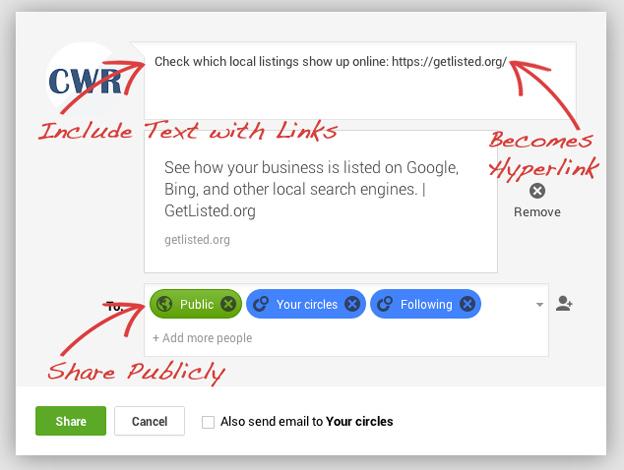 Google+ Example Post