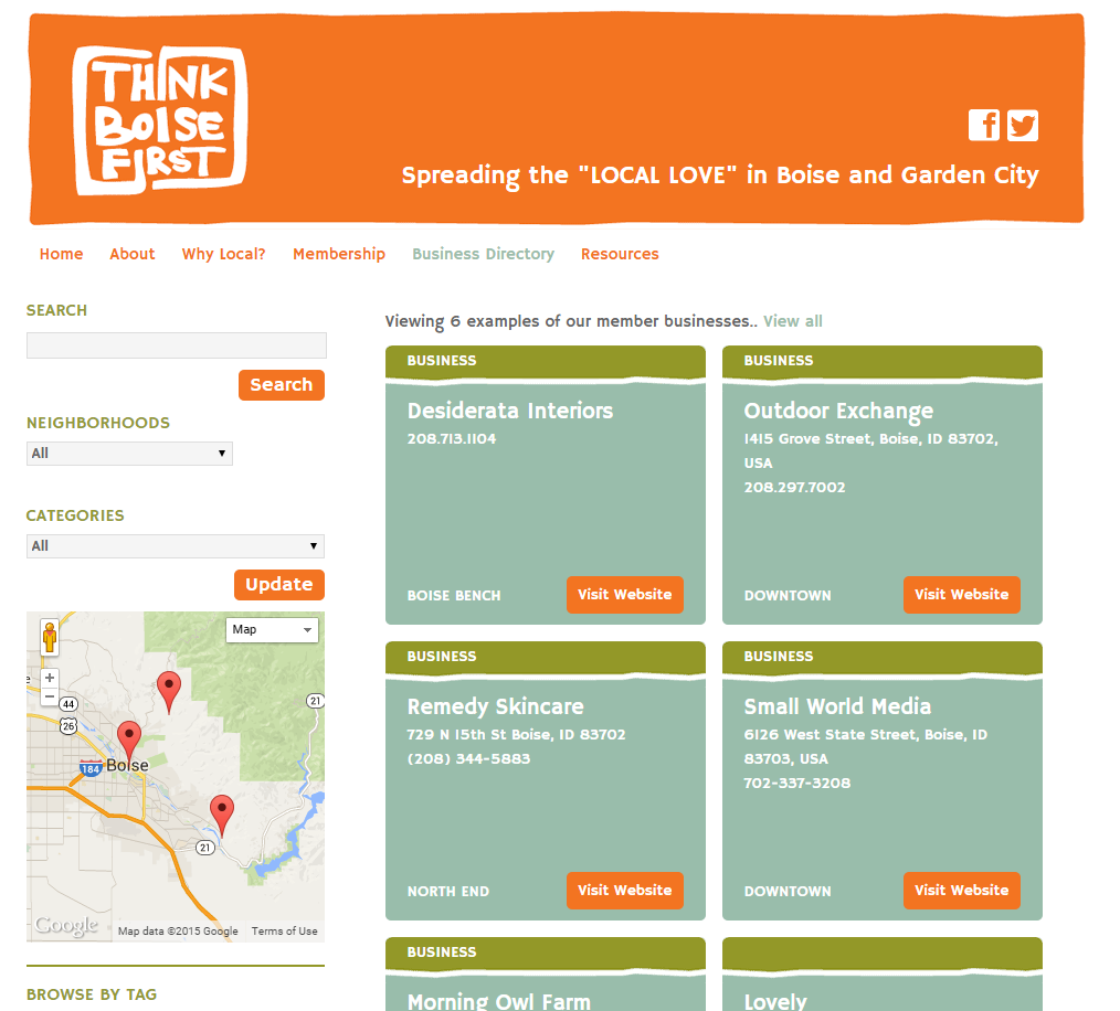 Advertising Example ThinkBoiseFirst Home Page No Drop Down