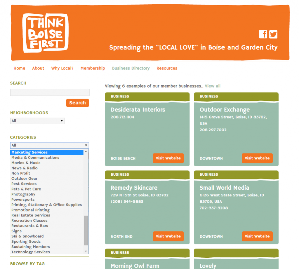 Advertising Example ThinkBoiseFirst Home Page