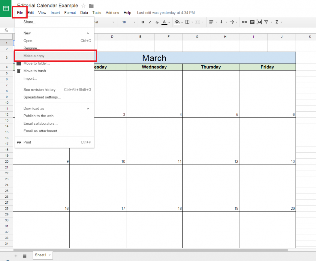 Google Sheets Weekly Calendar : How to create a free editorial calendar using google docs