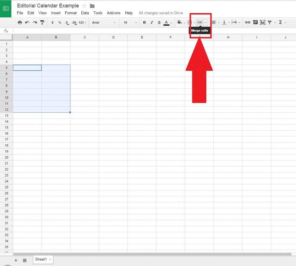 Merge cells button Google Docs