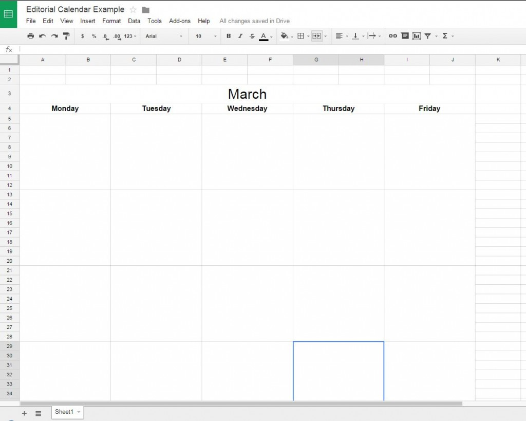 How to create a free editorial calendar using google docs full calendar month pronofoot35fo Gallery