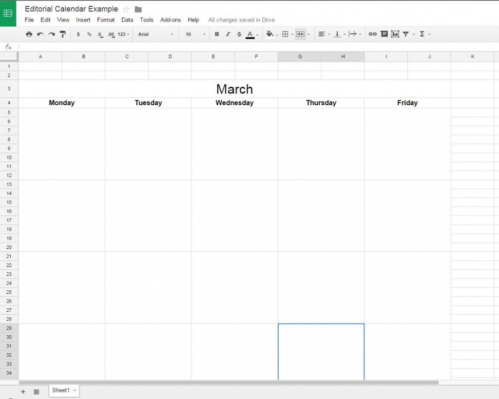 editorial calendar google docs
