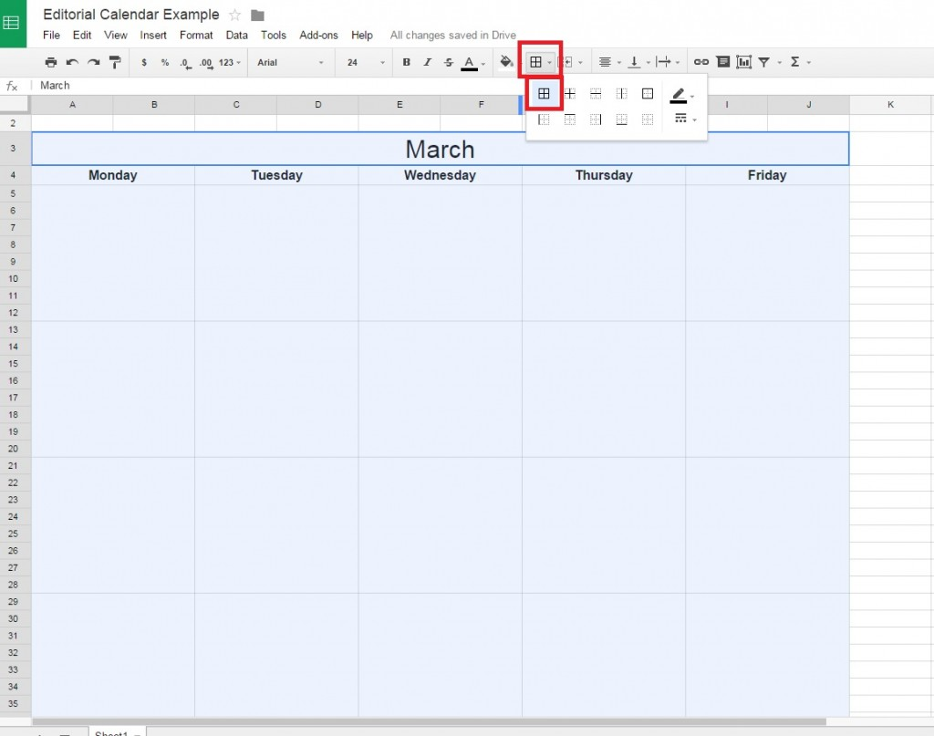 Adding borders to a Google Doc