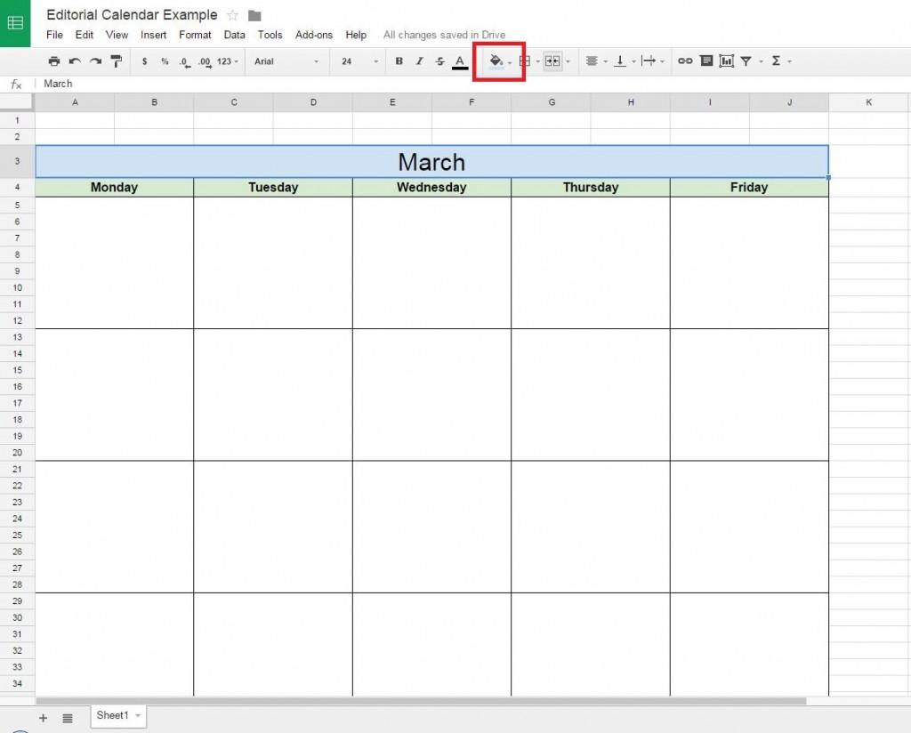 How to create a free editorial calendar using google docs for Page color google docs