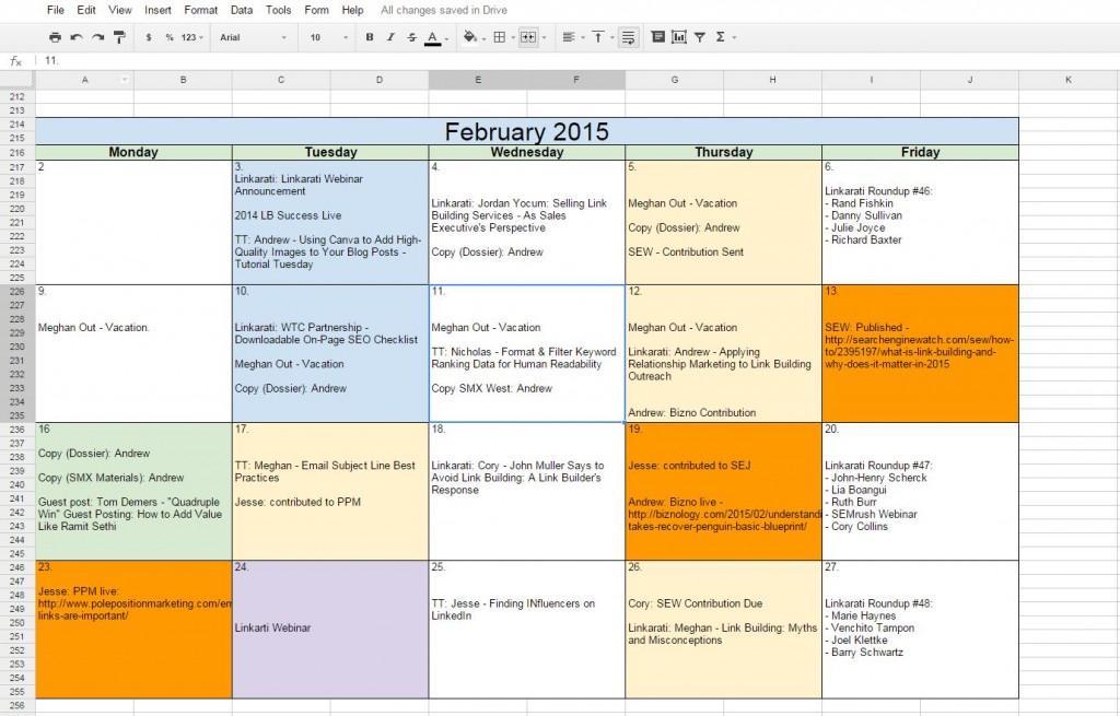 Linkarati February Editorial Calendar