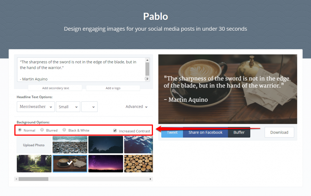 Pablo Different Background Options