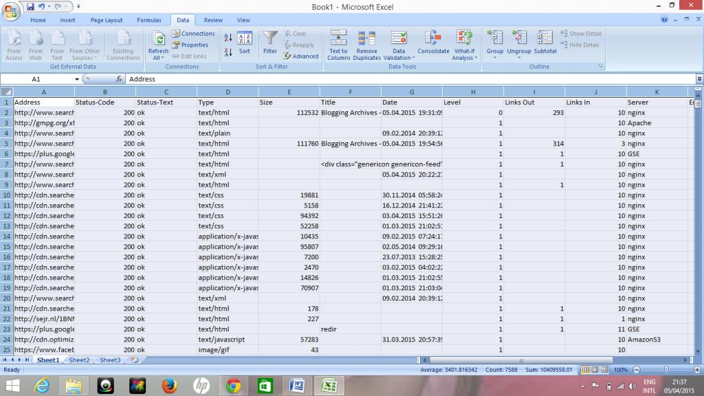 Xenu Excel