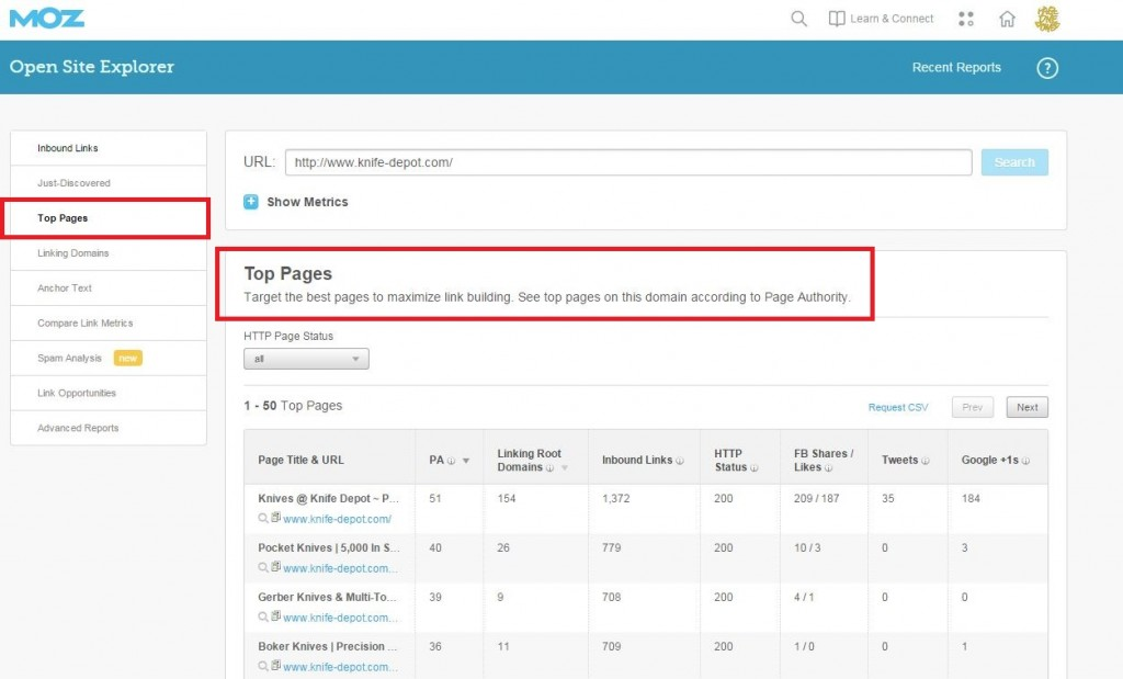 Moz OSE Top Pages