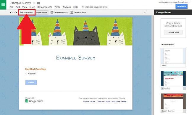 Edit questions button
