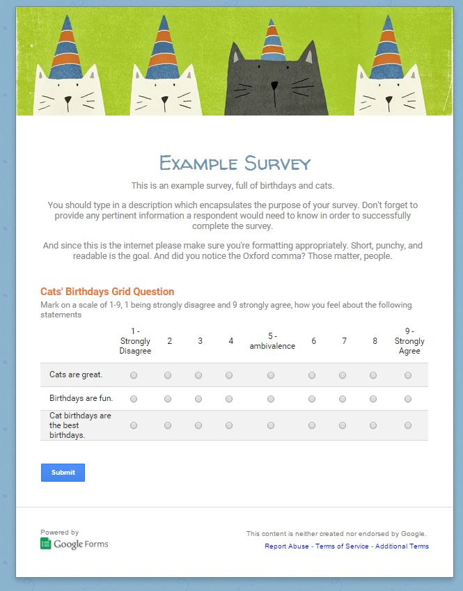 Example survey live