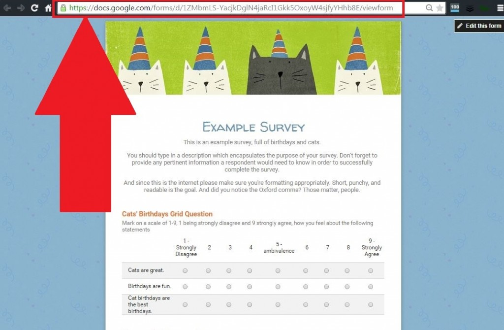 Live survey page URL