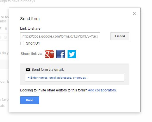 Google docs send form box