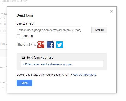 Google docs send form box