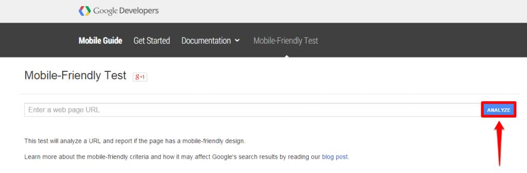 Google Tool Homepage Analyze Button