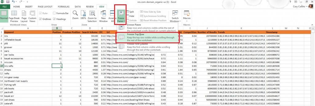 Freeze top row Excel