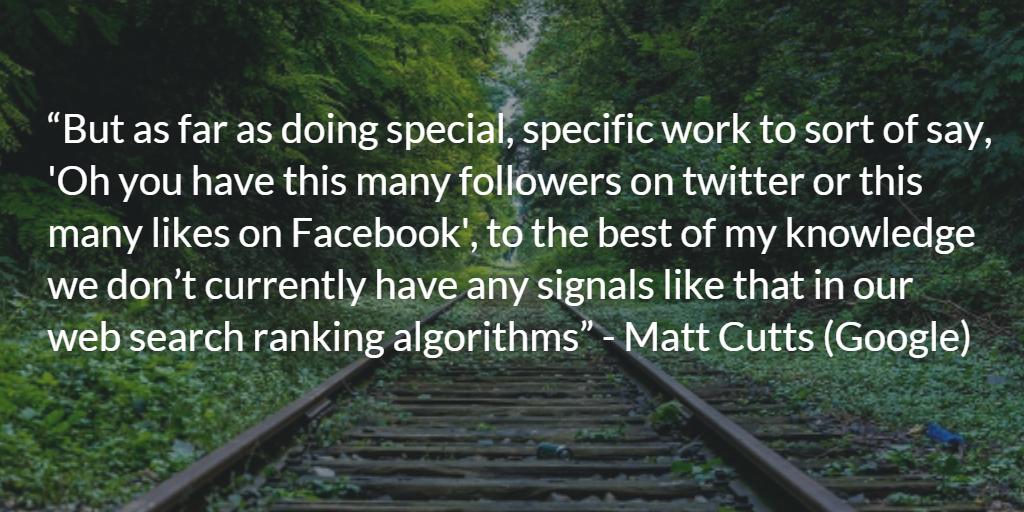 Matt Cutts Social Signals Quote