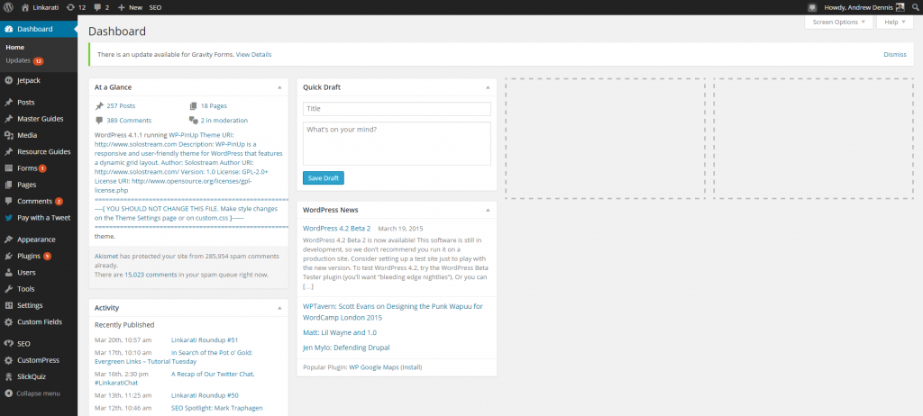 WordPress Linkarati Dashboard