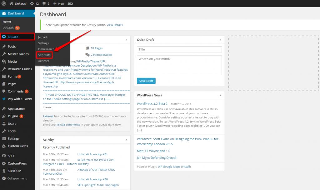 WordPress Linkarati Dashboard Jetpack Dropdown with Box