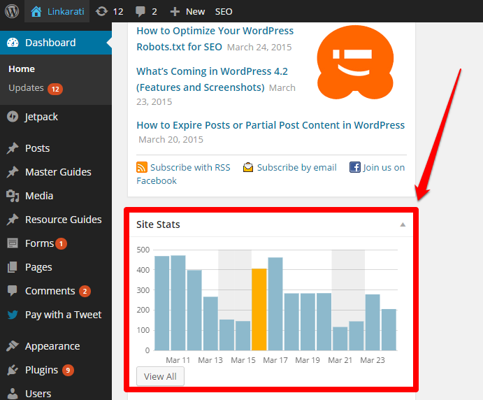 WordPress Linkarati Dashboard Site Stats with Box