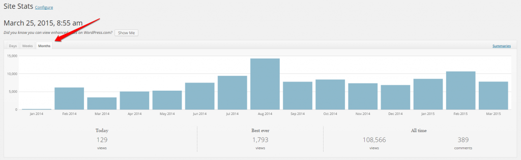WordPress Linkarati Site Stats Months Graph