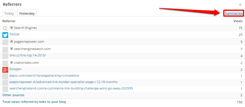 WordPress Referrers Yesterday Summaries