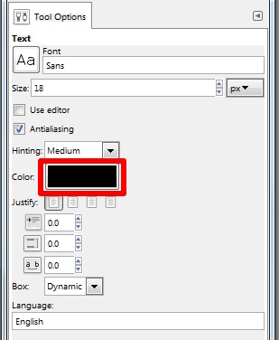 Adjust text color example screenshot