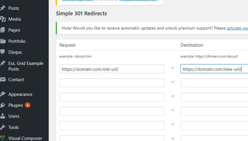 Redirect WP Plugin