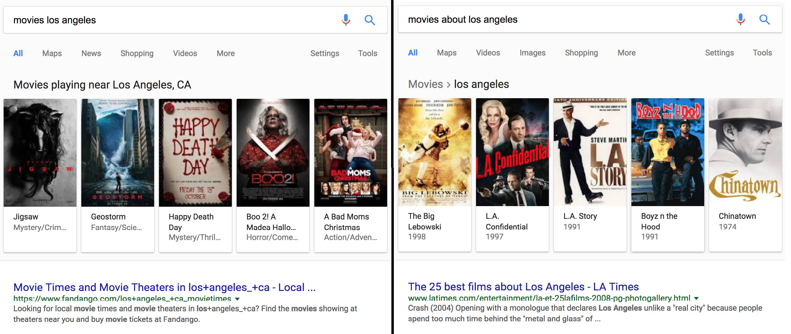 Movies near AND about LA side by side