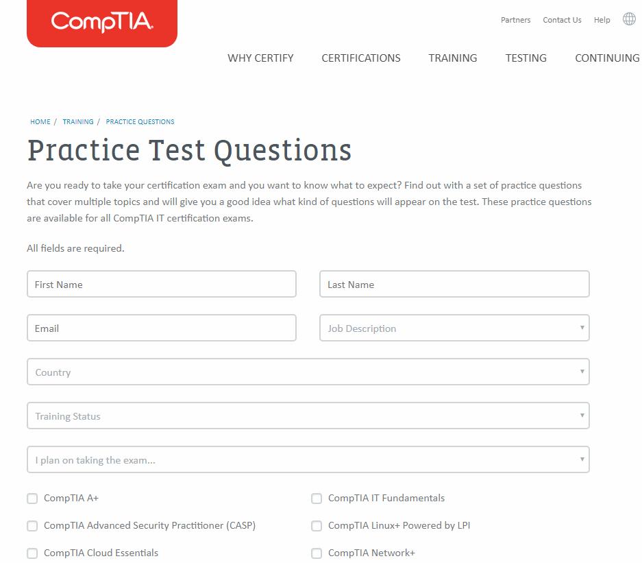 CompTIA practice test screenshot