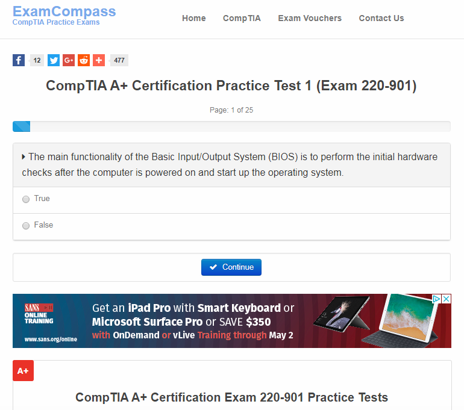ExamCompass screenshot