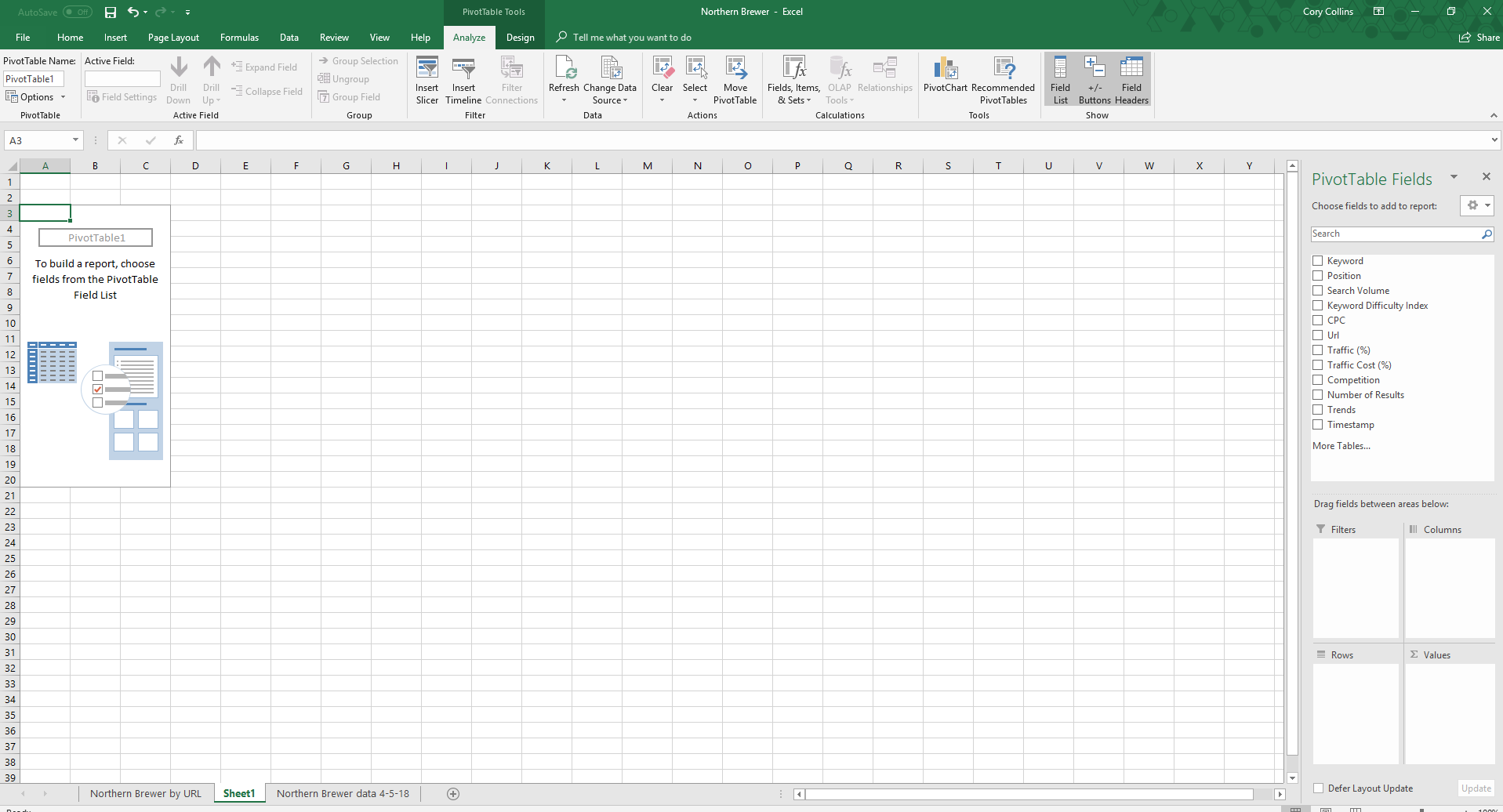 Excel blank pivot table