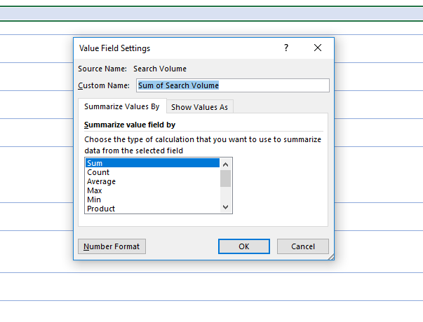 Sum of search volume field setting