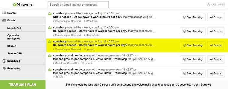 Yesware email screenshot
