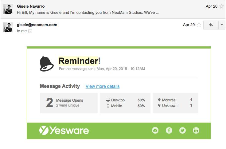 Email example screenshot