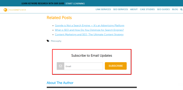 Screenshot of Page One Power call-to-action inviting reader to subscribe to email updates.