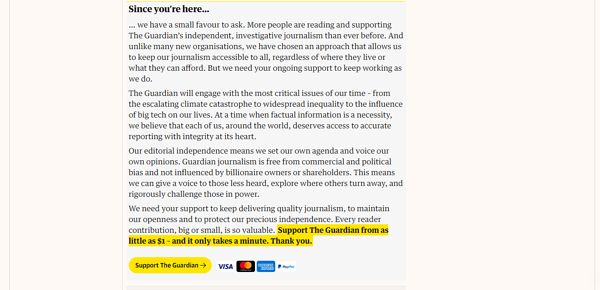 Screenshot of The Guardian's call-to-action with value proposition above bold font highlighted in yellow.