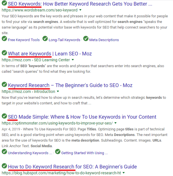 Keyword research title tag screenshot