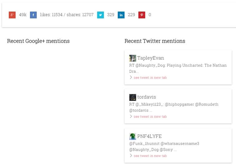 Social dashboard screenshot